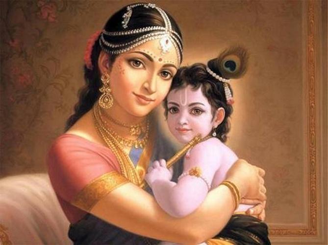 Cute Little Gopal Krishna Mata Yasodha Beautiful Wallpapers