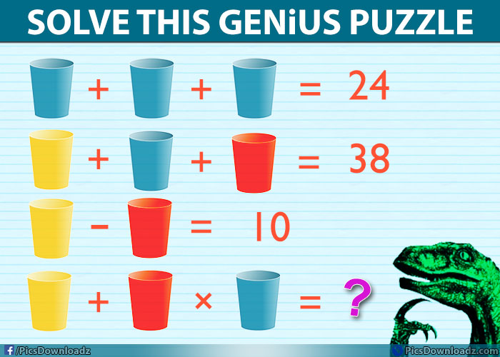 Picture Say 1000 Words Cup Puzzle 24 38 Difficult Brainteasers Math