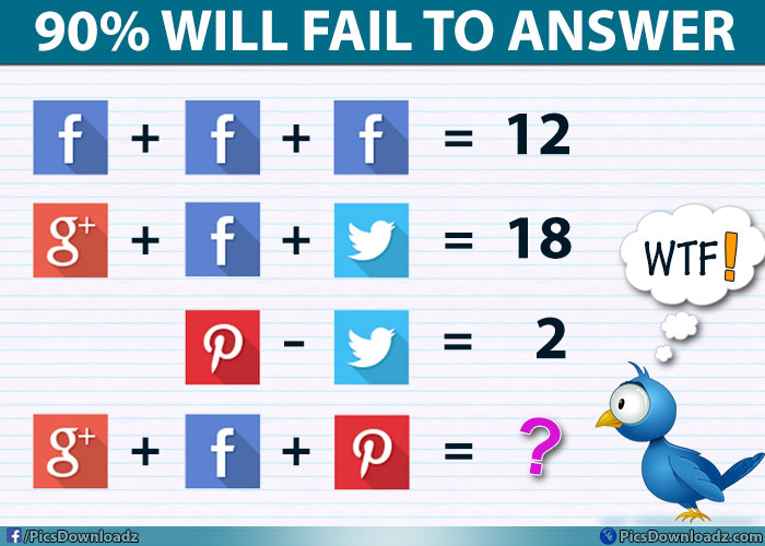 Worksheet Math Questions For Facebook With Answer google facebook pinterest solve this genius social puzzle image brain teasers pics story
